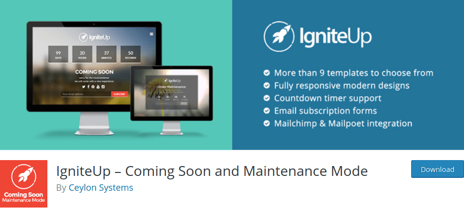IgniteUp – Coming Soon and Maintenance Mode By Ceylon Systems
