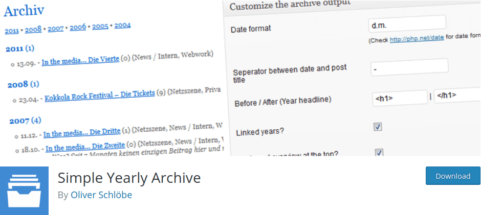 Simple Yearly Archive