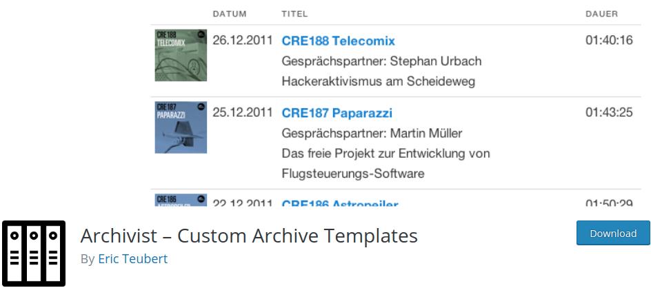 archivist Archive Plugin