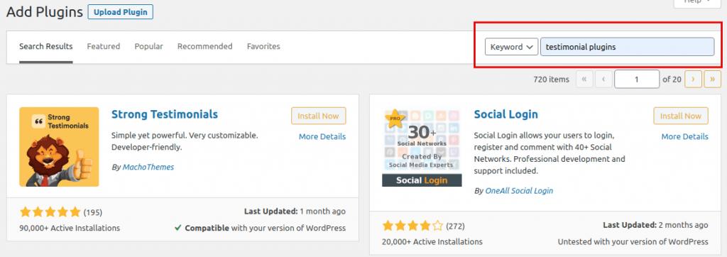 Searching Testimonial Plugin on Plugin Directory