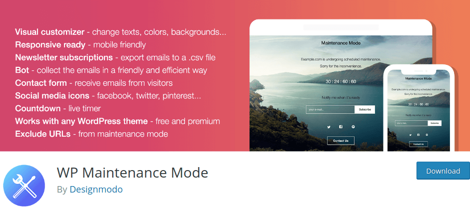 WP Maintenance by Designmodo